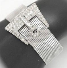 Art Deco Exceptional Wide Rhinestone Buckle Bracelet Visit Our Store | eBay