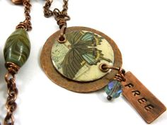 Resin Necklace Butterfly Copper Butterflies are by ATwistOfWhimsy,