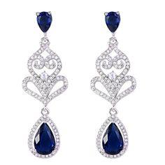 Bella Fashion Blue Dual Heart Bridal Earrings Cubic Zircon Tear Drop Dangle Wedding Earrings For Bride Bridesmaids Party Jewelry
