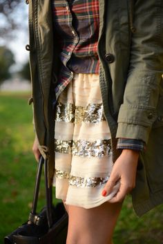 army jacket + plaid top + skirt