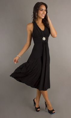 Black Semi Formal Dress Halter Tea Length V Neck Empire Waist $84.99