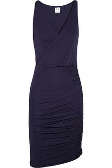 Halston Heritage - Wrap-effect ruched jersey dress