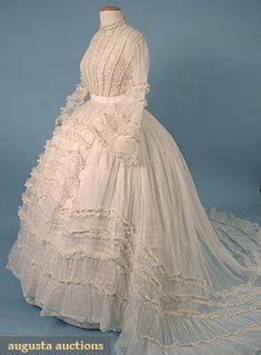 Circa 1860 organdy wedding dress.