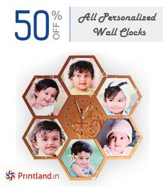 Get 50% OFF on All Personalized Wall Clocks at Printland.