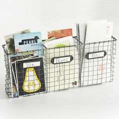 For our mail center. This one isn't available, but I like the organization - file, respond, bills. (The Famous Wall-Mounted Wire Basket // Live Simply by Annie) Organisation Hacks, Bill Organization, Kitchen Organization, Basket Organization, Storage Organizers, Mini Loft, Paper Clutter, Smart Tiles, Wire Baskets