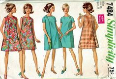 Rare ~ 60s Bust 38 3 armhole wrap dress Apron Smock Simplicity 7484 pattern