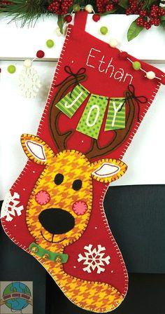 Fieltro Bordados Kit ~ dimensiones Reno Joy Christmas Stocking # 72-08271 in Artesanías, Artesanías con agujas e hilos, Bordado | eBay