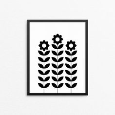 Wall art with flowers in Scandinavian retro style. Black and white design poster. Design by Creocrux.