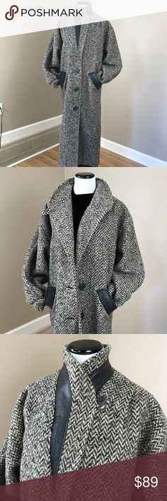 """Vintage Leather Tweed Trench Coat Vintage Leather Tweed Trench Coat. Two options to wear collar. Leather detail around collar and pockets. 3 buttons. Back has discoloration, but looks like part of tweed, not stain. It is shown in photo. Lined. Brand and size unknown. Medium/Large with hips being the narrowest point. 39"""" hips. 40"""" waist. 48"""" bust 44"""" long. Very good condition Vintage Jackets & Coats Trench Coats"""
