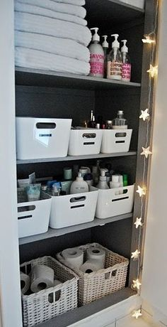 I like the gray inside the hall closet, but just think for a minute how great green would look! Container Organization, Linen Closet Organization, Organisation Hacks, Bathroom Organization, Organized Bathroom, Organize Bathroom Closet, Storage Ideas For Bathroom, Toiletry Organization, Cleaning Cupboard Organisation