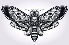 Deaths head hawk moth hand drawn silhouette. Design tattoo art. Elegant Isolated vector illustration. Trendy Vintage element. Dark romance, philosophy, spirituality, occultism, alchemy, death, magic. Art by: Ekaterina Gerasimova