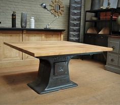 Industrial Square Dining Table 140x140 cm