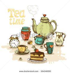 Tea time still life set vector illustration - stock vector