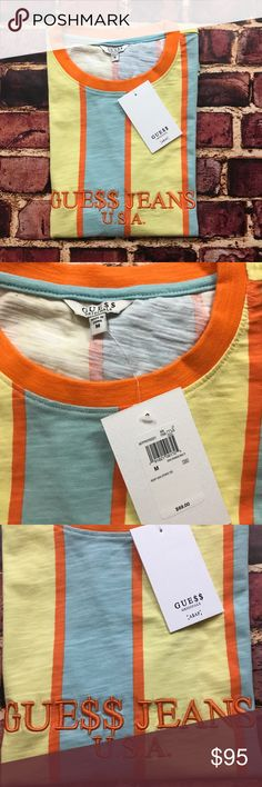 ASAP Rocky GUESS USA Striped Tee Mens Medium A$AP ASAP Rocky GUESS USA Striped Short Sleeve Tee Shirt Mens S Small in Orange A$AP  Brand New / Tags Still Attached!  *these are oversized to re-create the original style GUESS tees popularized in the 90s, I recommend sizing up for a more true fit*  See Photos Guess Shirts Tees - Short Sleeve