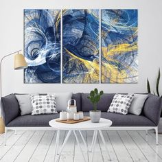 Blue and Yellow Abstract Canvas Print Wall Art Abstract | Etsy