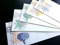 5 HandStamped No.10 Envelopes VintageInspired Flower by JJkun, $2.00