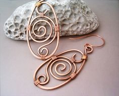 Wire Wrapped Earrings oldlooking Copper Handmade by GearsFactory                                                                                                                                                                                 More