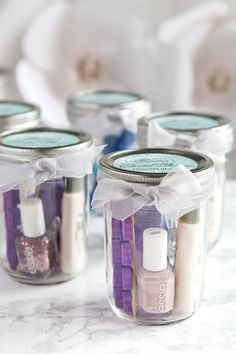 Pedicure in a Jar - Bridal Shower favor, easy simple party favor, cute mason jar favors,