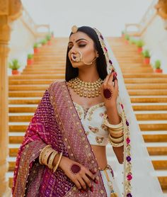 Every bride's dream is to rock her bridal look. And, that can happen when you know your bridal jewelry to compliment your bridal lehenga. Indian Bridal Outfits, Indian Bridal Fashion, Indian Fashion Dresses, Indian Designer Outfits, Indian Style, Rajasthani Bride, Muslim Wedding Dresses, Muslim Brides, Wedding Hijab