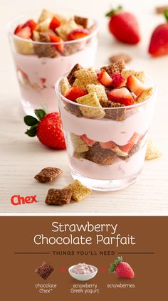 Go ahead, whip up this Strawberry Chocolate Parfait for a breakfast treat! Spoon some strawberry Greek yogurt into the bottom of a small glass and sprinkle Chocolate Chex and fresh strawberries on top. Repeat the layers and enjoy.
