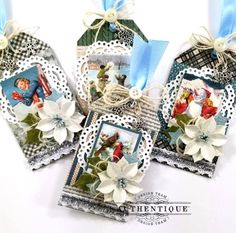 Snowfall Christmas Tags with Tutorial for Authentique Papers Christmas Quotes, Christmas Gift Tags, Christmas Projects, Xmas, Country Christmas, Crafty, Paper, Gifts, Studio