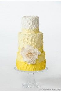 Rustic Ombre Yellow Buttercream Cake || maybe a different color besides yellow?