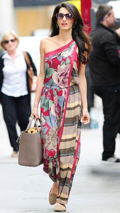 Mix & Match from Amal Alamuddin's Street Style Two prints, one shoulder. Lookin' good, Amal!