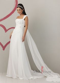 One Shoulder Sweep Train Chiffon Wedding Dress with Embroidery