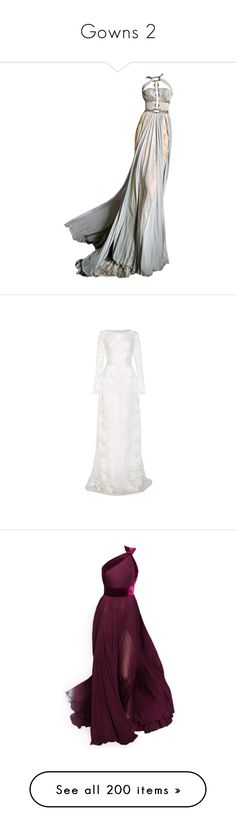 """""""Gowns 2"""" by babysoo-me-u ❤ liked on Polyvore featuring dresses, gowns, long dresses, vestidos, white see through dress, white bustier, flower dress, slimming dresses, white dress and satinee"""