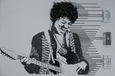 Jimi Hendrix Experience cassette tape art by Erika Iris Simmons Cassette Tape Art, Designer Couch, Iris, Ghost In The Machine, Principles Of Art, Ouvrages D'art, Celebrity Portraits, Creative Portraits, Creative Art