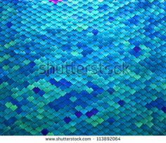 Image closeup of a metal fish scale design in shades of blue and aqua - stock photo