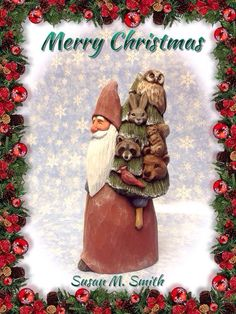 Hand carved Santa with tree full of animals by Susan M. Smith, carving