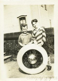Vintage photo 1929 Boys Pose w White WAll Tire from Car Young Boys, Young Man, Glassine Envelopes, Aftermarket Wheels, Boy Poses, Photo Online, High Contrast, Cute Photos, Perfect Photo
