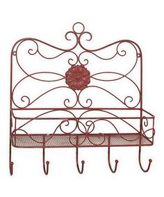 Another great find on #zulily! Rust Antiqued Metal Shelf & Wall Hook #zulilyfinds