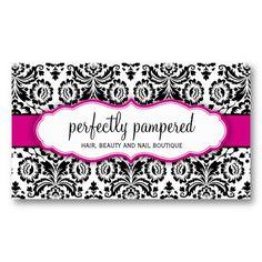BUSINESS CARD stylish damask black fuschia pink  Feminine #businesscard #businesscardtemplates #modernbusinesscards