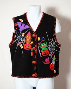 Fun Halloween sweater vest that everyone at the party will be jealous of! Spider webs, Jack'o'lanterns, and a bunch of cute critters. MARISA CHRISTINA size - M vintage pre-owned Halloween Ii, Halloween Costumes, Vintage Sweaters, Vest, Funny Shit, Awesome, Cute, How To Wear, Outfits