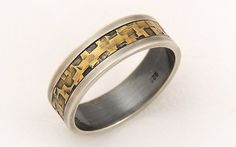 III Men's engagament ring - 7mm wide,men's wedding band ring,sterling silver and brass