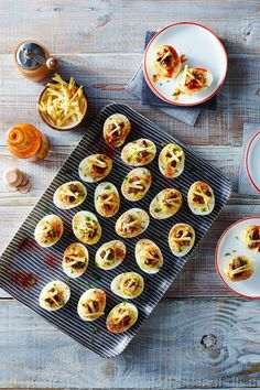 Deviled eggs are made even more savory with the addition of our garlicky, rich Perfect Roasted Beef Tenderloin. Old school crispy shoestring potatoes Tailgating Recipes, Steak Recipes, Egg Recipes, Appetizer Recipes, Cooking Recipes, Steak Meals, Game Recipes, Asian Recipes, Appetizers