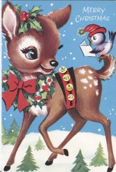 Vintage Christmas Card - Reindeer with Bird Vintage Christmas Images, Old Christmas, Old Fashioned Christmas, Christmas Scenes, Christmas Animals, Retro Christmas, Vintage Holiday, Christmas Pictures, Reindeer Christmas
