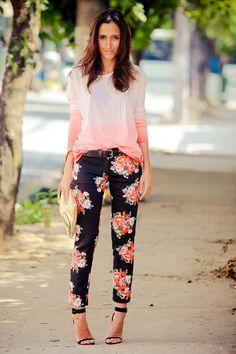 Floral pants + tie dye