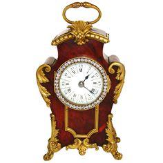 Antique French Tortoise Shell Boulle Desk or Sm. Mantel Clock  France  c. 1870-1900.