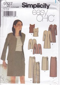 New Sewing Pattern for Women's Easy Chic Separates Wardrobe  Simplicity Pattern  9327 Miss Size 14/20 14 16 18 20 Plus Size FF UNCUT 2000 by LanetzLiving on Etsy Plus Size Sewing Patterns, Childrens Sewing Patterns, Skirt Patterns Sewing, Costume Patterns, Simplicity Sewing Patterns, Vintage Sewing Patterns, Clothing Patterns, Vintage Dresses 1960s, Girls Rompers