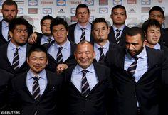 Japan coach Eddie Jones (centre) poses for his side's team photo alongside Fumiaki Tanaka (left) 2015 Rugby World Cup, Australian Football, Rugby Players, Team Photos, My Boyfriend, Squad, Athlete, Soccer, Japan