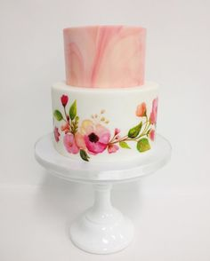 @rachchan_la has done it again! How stunning is this marble and watercolor floral cake?! by sweetnsaucyshop