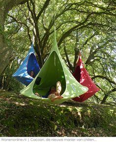 Hangmat, schommel, tuinstoel en schuilplaats ineen