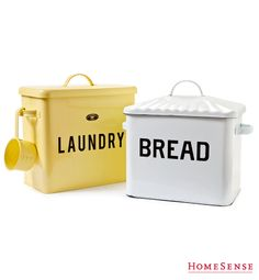 Stylish metal bins, perfect to organize the laundry room or kitchen. Metal Bins, How To Store Bread, Homesense, Tin Containers, Vintage Tins, Beautiful Kitchens, Home Organization, Storage Solutions, Kitchenware