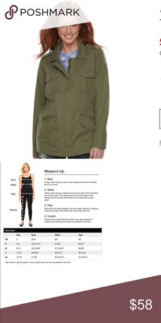 Women's Rock & Republic Military Anorak Jacket You'll command attention wearing this women's military anorak jacket from Rock & Republic, In olive.  PRODUCT FEATURES: Epaulets Zip & snap front Long sleeves Soft twill construction 6-pocket  FIT & SIZING: Inner-drawstring waistband  FABRIC & CARE: Cotton Machine wash  ✌🏻Price FIRM unless bundled Rock & Republic Jackets & Coats