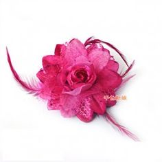The white/rose net flower - bride headdress flower feather flower head ornaments nuptial dress matches the decoration        $1.61