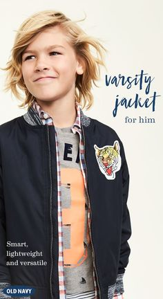 Be the star player with Old Navy's Varsity Jacket for boys. It's lightweight and versatile enough to pair with almost any outfit. With unbelievably affordable prices, Old Navy is the place to go for popular styles and trends for boys!