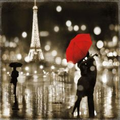 Elevate the look of your home or office with this romantic print by Kate Carrigan. This stunning print features a couple kissing under a bright red umbrella in front of the Eiffel tower. This charming